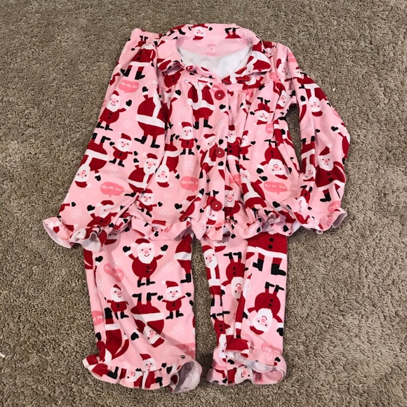 Carter's Other - CARTERS pink santa claus button down jammies